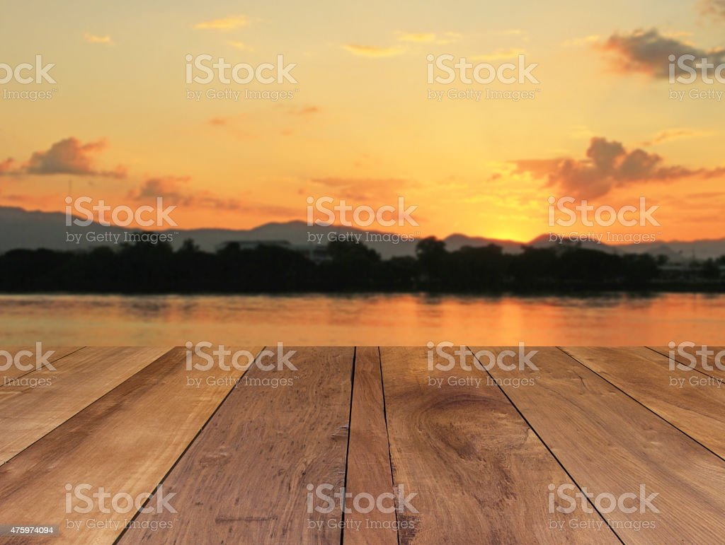 wooden floor and beautiful sunset stock photo