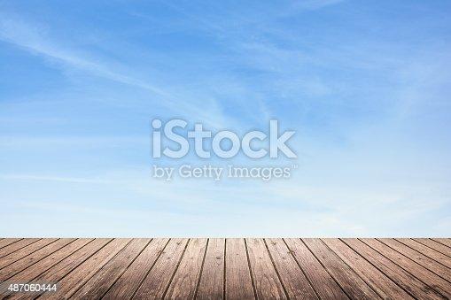 istock wooden floor and sky background 487060444