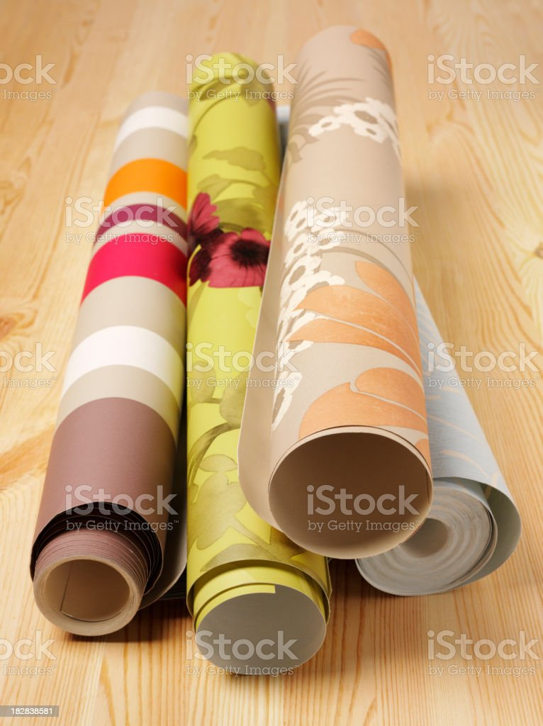 Wooden Floor and Wallpaper royalty-free stock photo