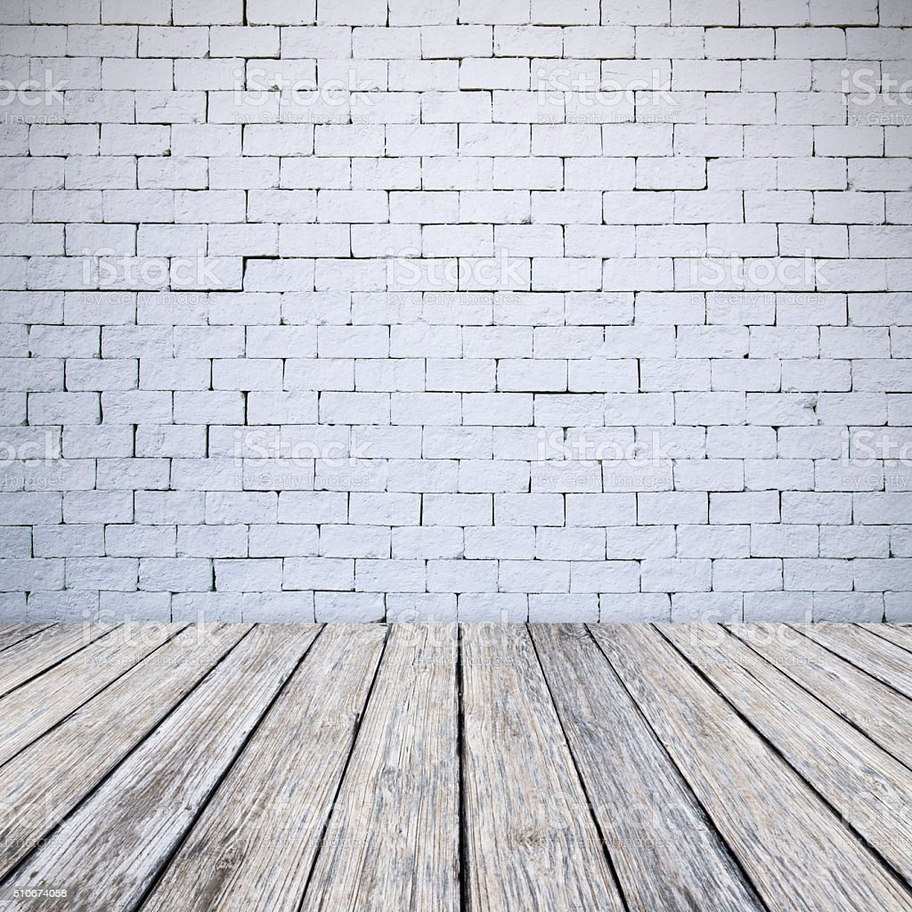 Wooden Floor And White Brick Wall Texture Background Stock Photo ...