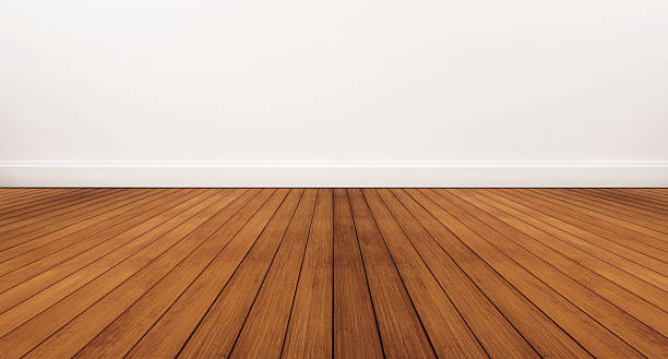wooden floor and white wall - diminishing perspective stock photos and pictures