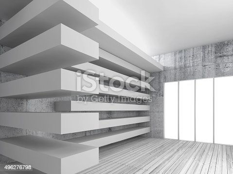 470934084 istock photo Wooden floor, concrete walls and beams, 3d 496276798