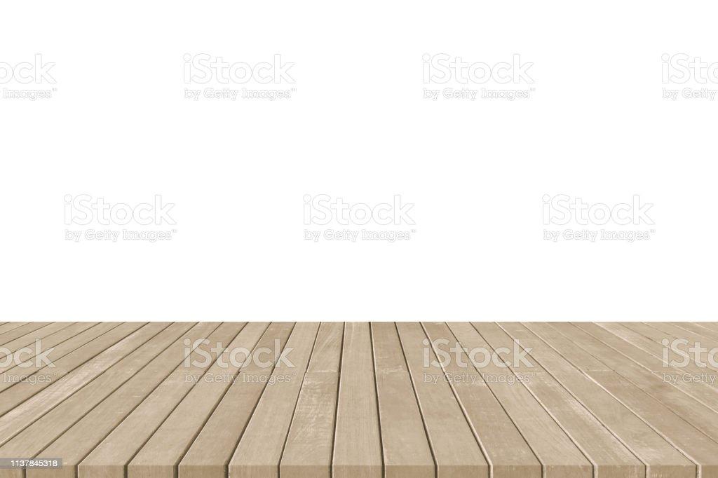 Piso De Madera Cubierta O Terraza En Sepia Marrón Aislado