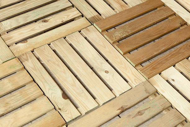 Wooden Floor Decking Panels For Balcony And Garden Stock Photo