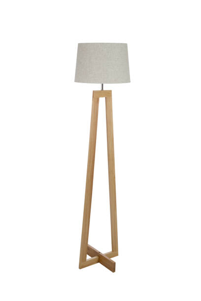 Wooden floor lamp isolated on white background stock photo