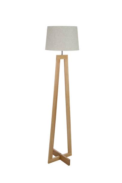lampe de plancher en bois isolée sur fond blanc - lampe électrique photos et images de collection