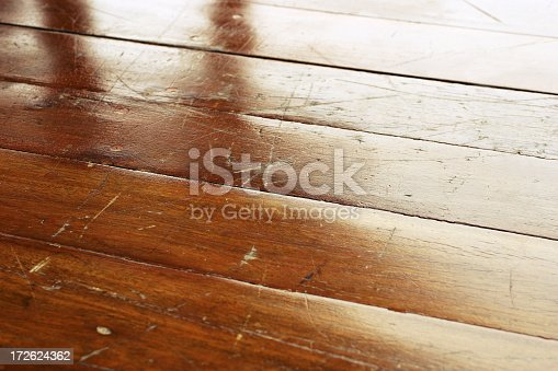Close-up of a grungy wooden floor.