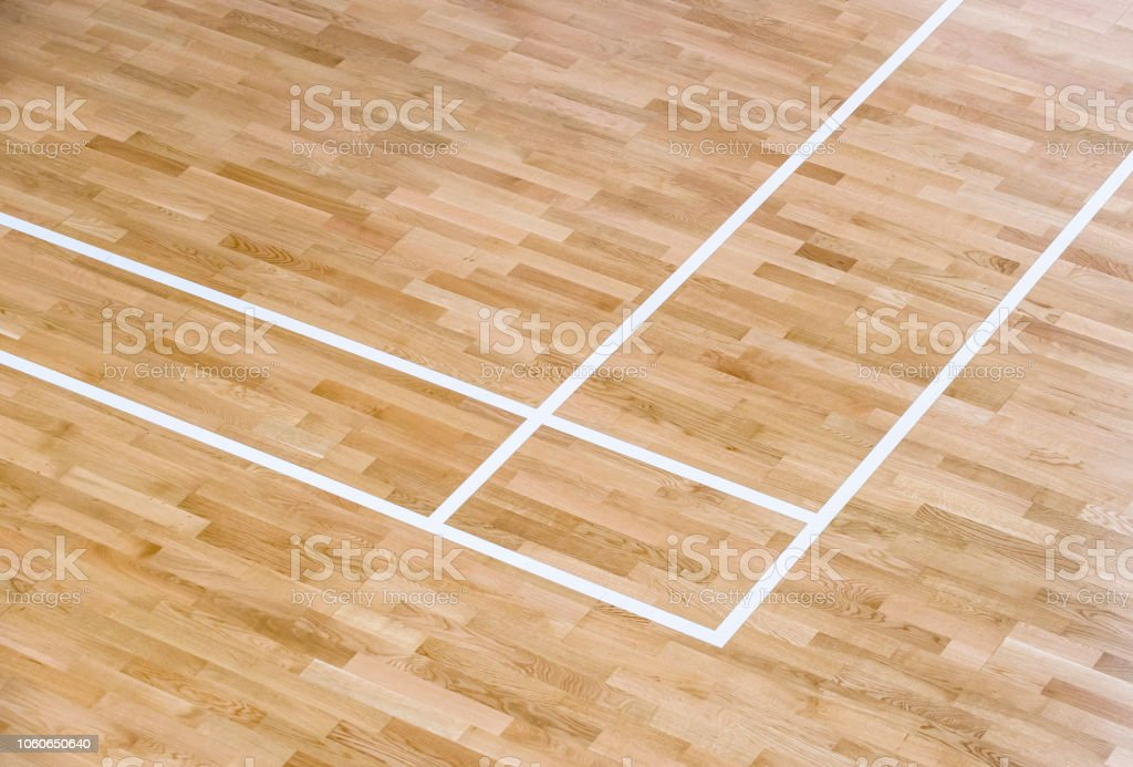 wooden floor volleyball, basketball, badminton court with light...