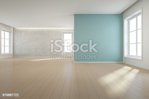 istock Wooden floor with blue concrete wall background in large room at modern new house for big family, White vintage window and door of empty hall or natural light studio 876887722