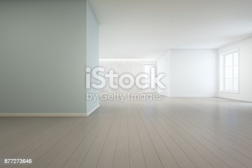 istock Wooden floor with blue concrete wall background in large room at modern new house for big family, White vintage window and door of empty hall or natural light studio 877273646