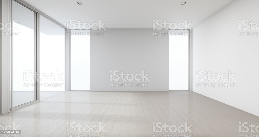 Houten Vloer Grijs : Houten vloer met grijze betonnen muur achtergrond in grote kamer