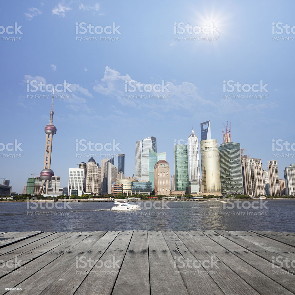 wooden floor with modern city royalty-free stock photo