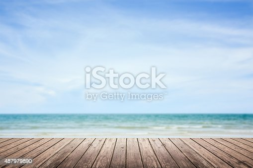 677933036 istock photo wooden floor with sea and sky blurred background 487979890