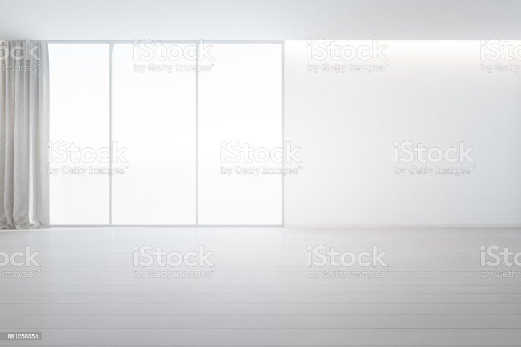 Holzboden Mit Weißen Betonwand Hintergrund Im Großen Raum Im ...