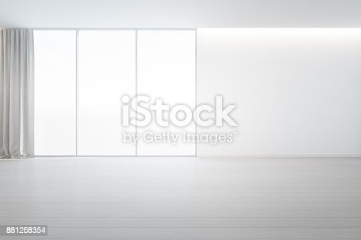 istock Wooden floor with white concrete wall background in large room at modern new house for big family, Gray window frame and curtain of empty hall or natural light studio 881258354