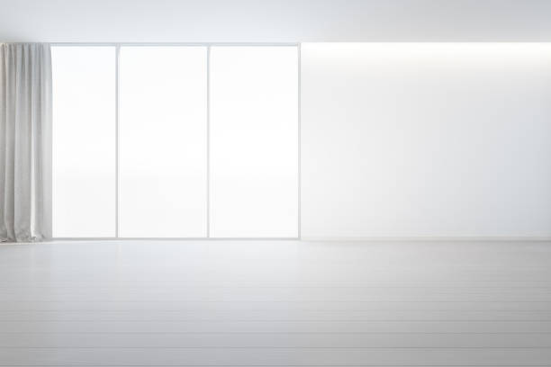 holzboden mit weißen betonwand hintergrund im großen raum im modernen neuen haus für großfamilie, graue fensterrahmen und vorhang aus leeren saal oder natürliche lichtstudio - gardinen weiß stock-fotos und bilder