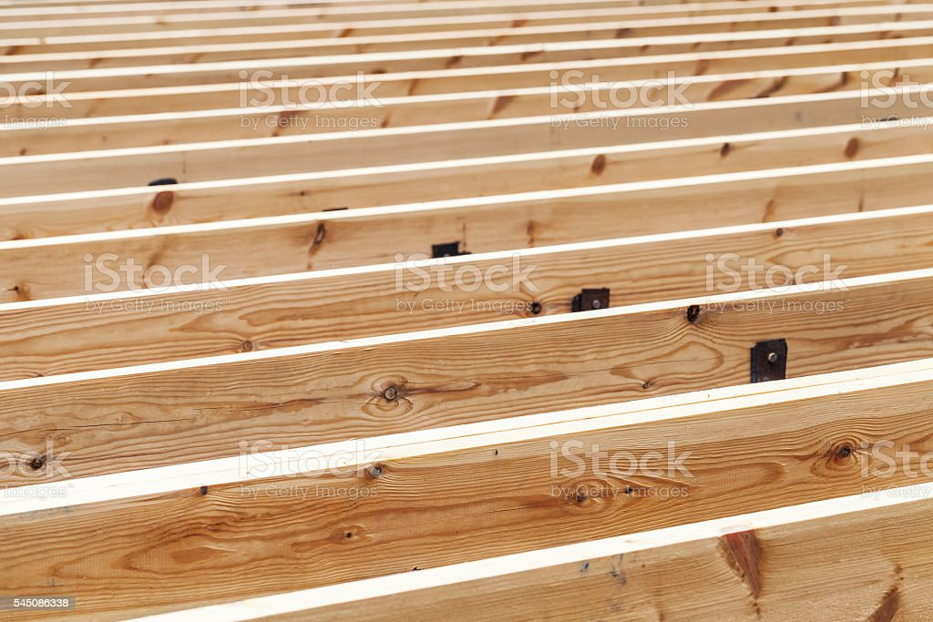 Wooden flooring under construction, abstract – Foto