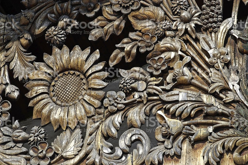 Wooden flower pattern royalty-free stock photo