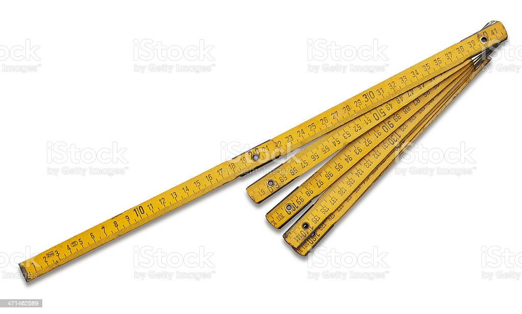 Wooden folding ruler stock photo