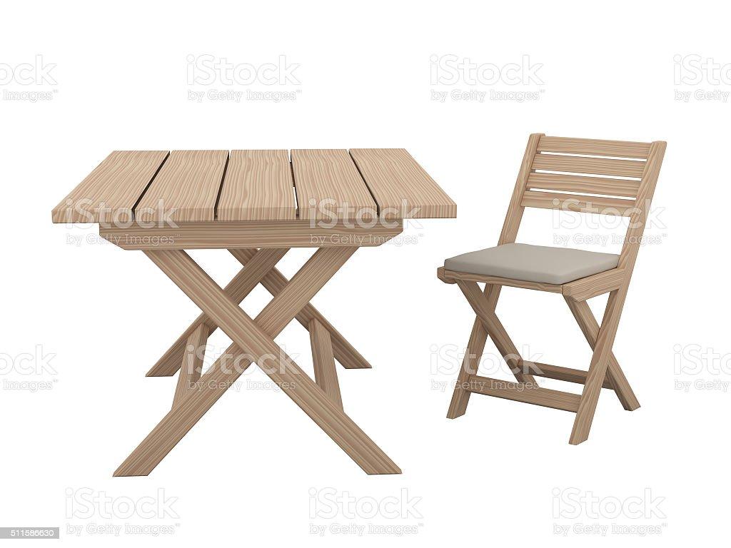 Plegable mesa de madera y una silla. - foto de stock