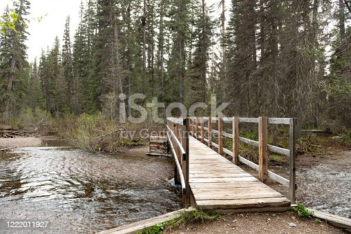 This is a wooden foot bridge crossing over a river stream on a hiking trail in Montana, USA on an overcast spring day in the woods.