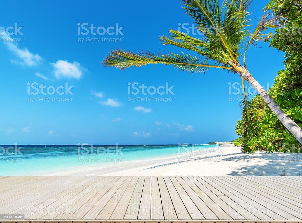 Wooden footbridge beside tropical beach stock photo