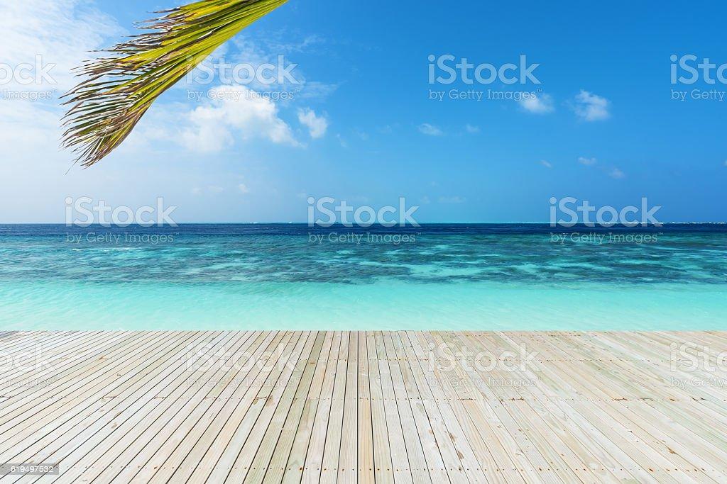 Wooden footbridge beside tropical sea stock photo