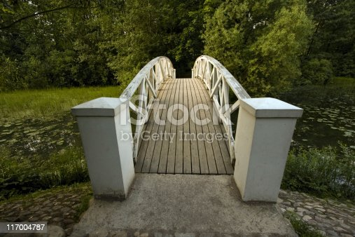 White bridge in forest. Russia. Ostafievo