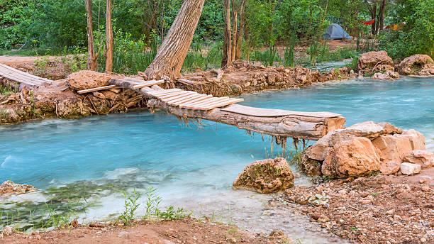 Wooden Footbridge in Havasupai Campground stock photo