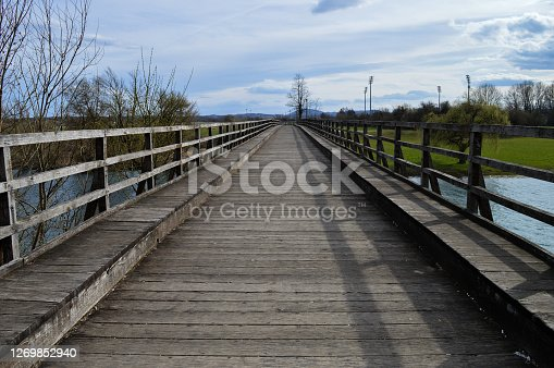 Wooden bridge over Korana river was built in 1935. and renewed in 1970. It is one of the symbols of Karlovac city.