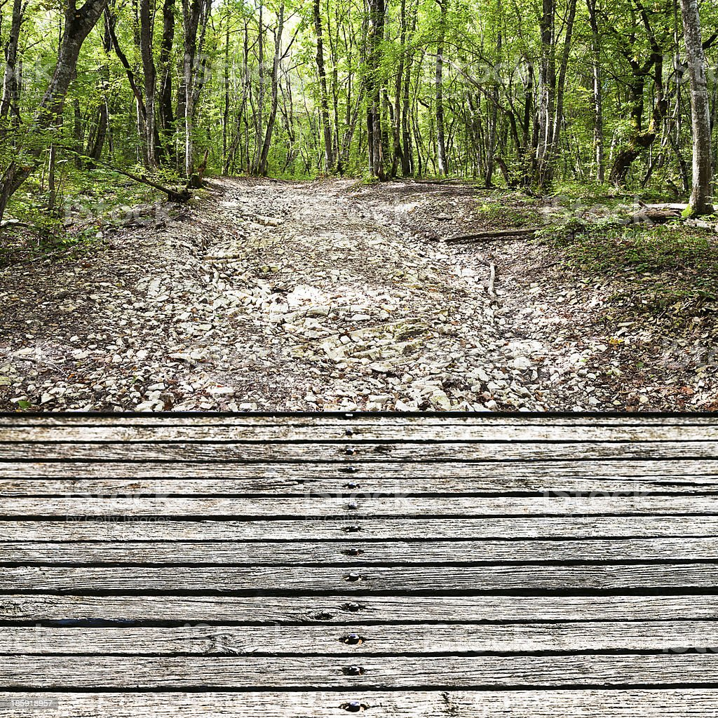 wooden footbridge over stone dried creek bed stock photo