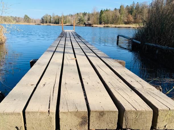 A wooden footbridge stock photo