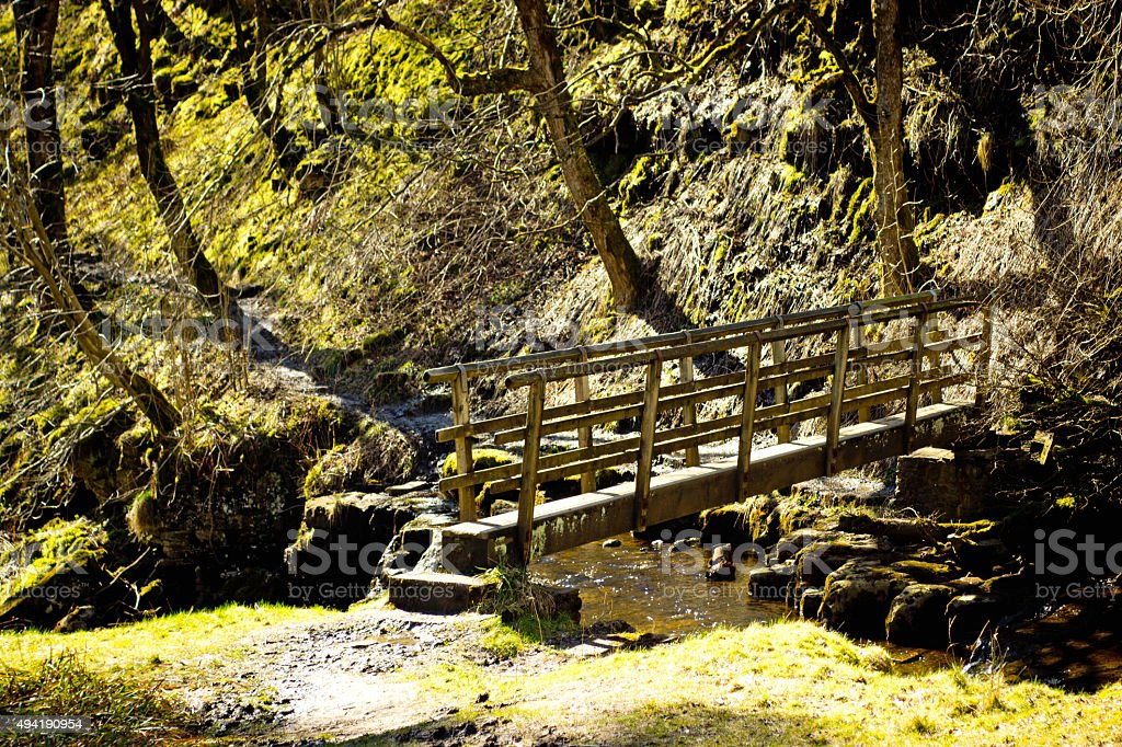 Wooden footbridge stock photo
