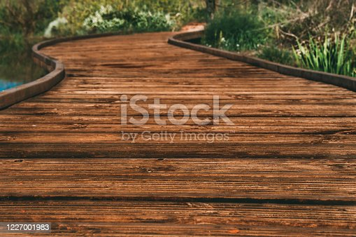 Wooden footbridge with final blur, ideal for walking with the family.