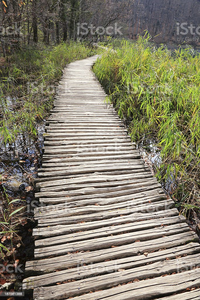 Wooden footpath in Plitvice Lakes National Park royalty-free stock photo