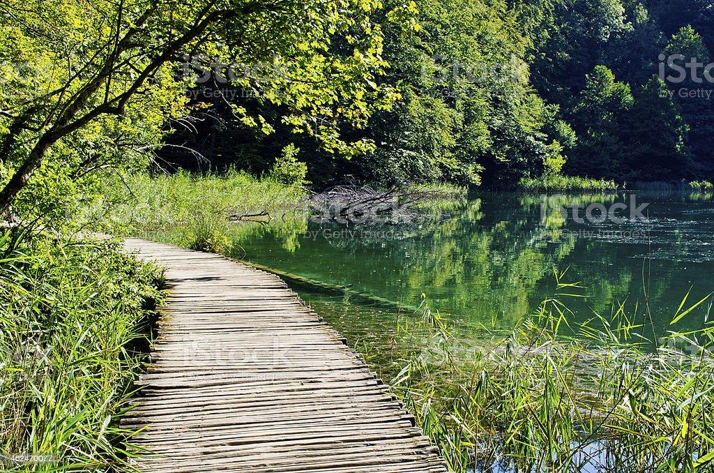 Wooden footpath in Plitvice park, Croatia stock photo