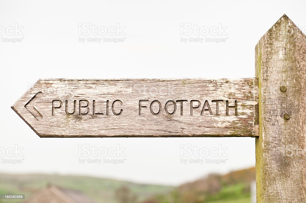 Wooden Footpath Sign royalty-free stock photo