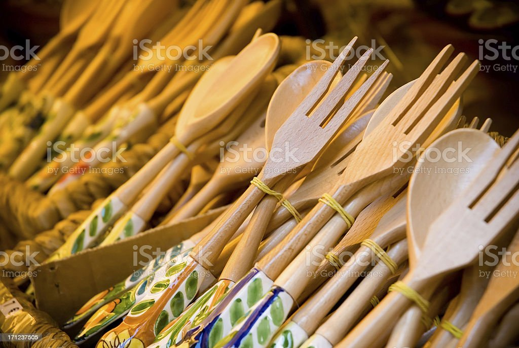 Wooden forks and spoons stock photo