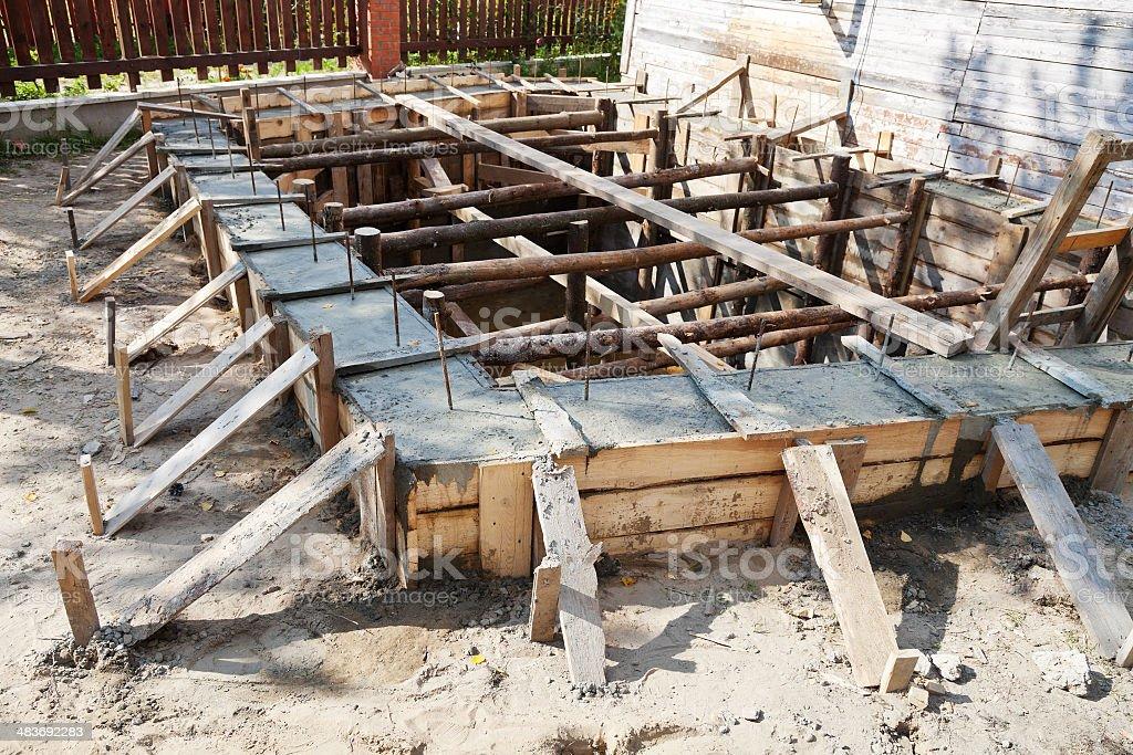 wooden formwork concrete foundation stock photo