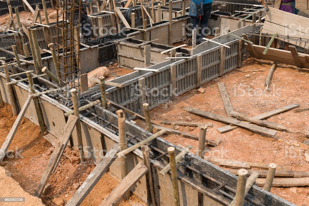 Wooden Formwork Concrete Of Beam Stock Photo - Download Image Now