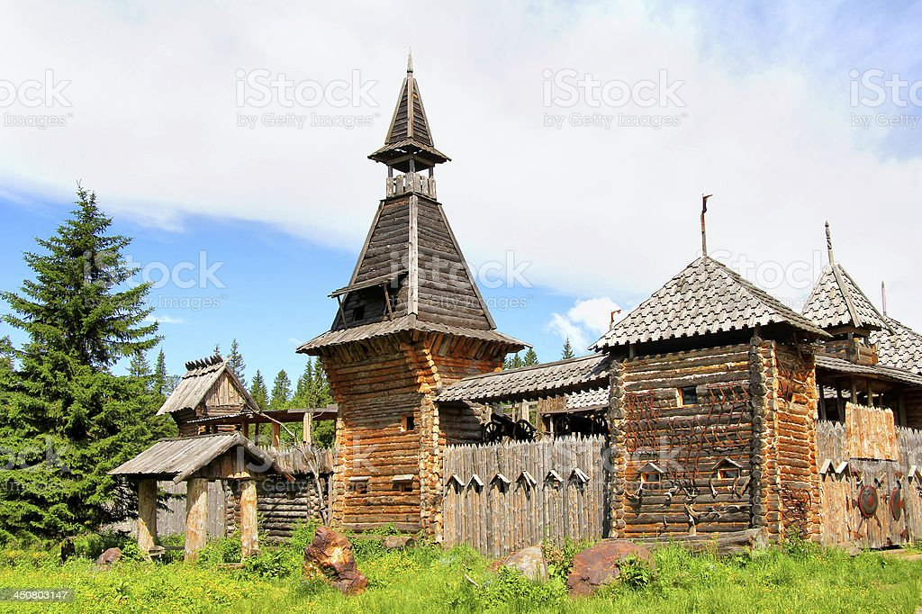 Wooden fortress stock photo
