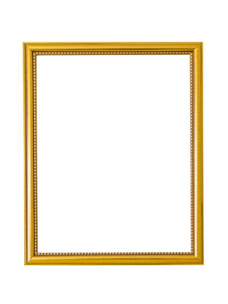 白い背景の金色の木製フレーム。絵画、ミラーや写真の金色の額縁 ストックフォト