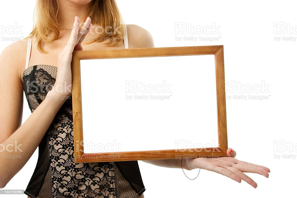 Wooden frame in hands stock photo