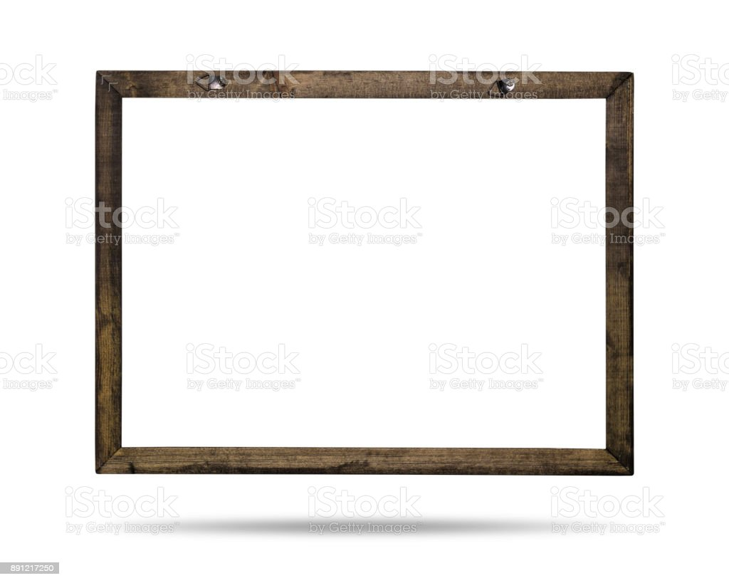 Wooden frame isolated on white background. Template of border for your design. ( Clipping paths ) stock photo