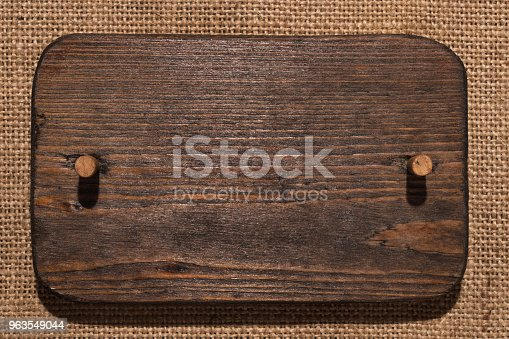 Wooden Frame Made Of Dark Wood With Wooden Gag Lies On Burlap Stock ...