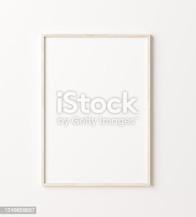 Wooden frame mockup close up on wall, 3d render