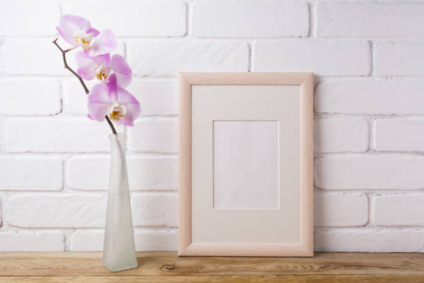 Wooden frame mockup with tender pink orchid stock photo