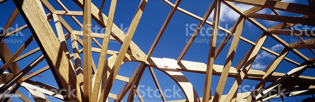 Wooden frame of a building under construction royalty-free stock photo