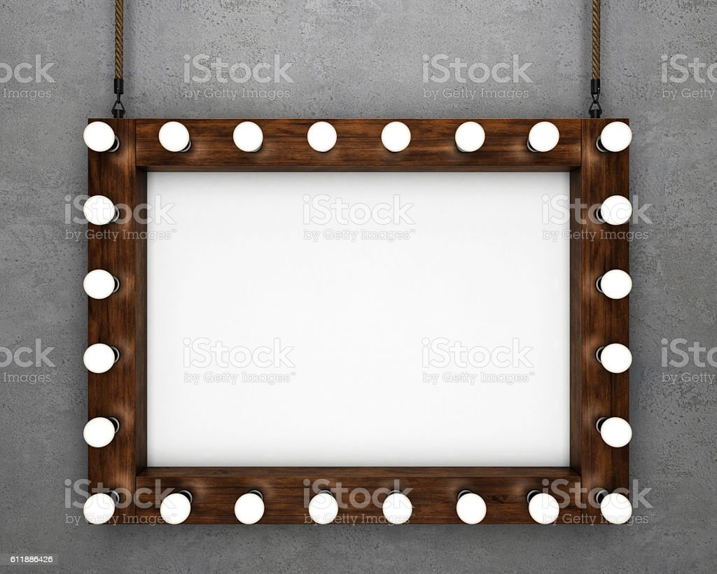 Wooden frame on concrete background stock photo