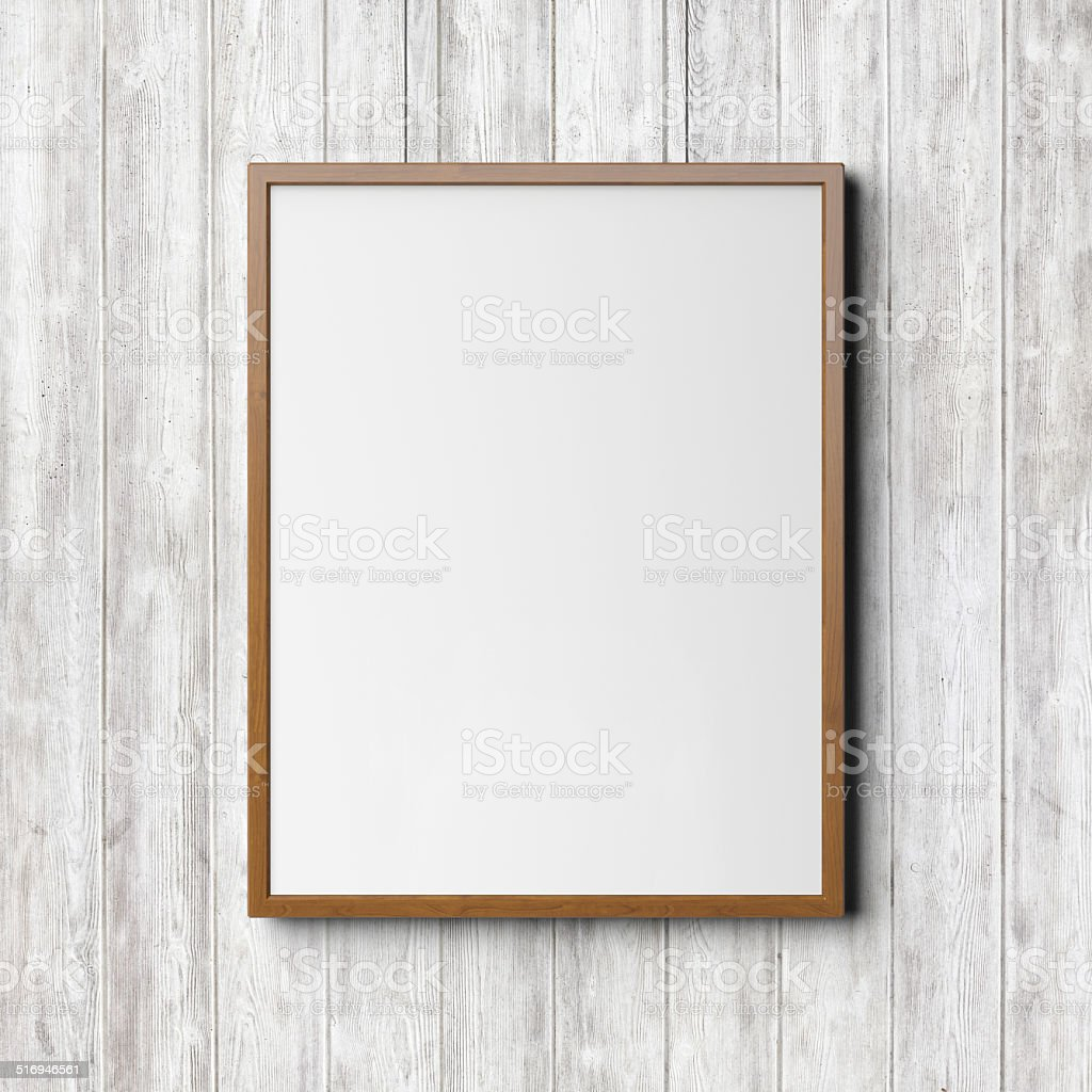 Wooden frame on the wood background stock photo